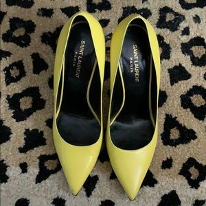 Saint Laurent Paris 105mm yellow FAB Pumps sz 39.5